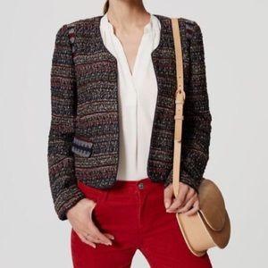 Loft boucle tweed open blazer jacket navy